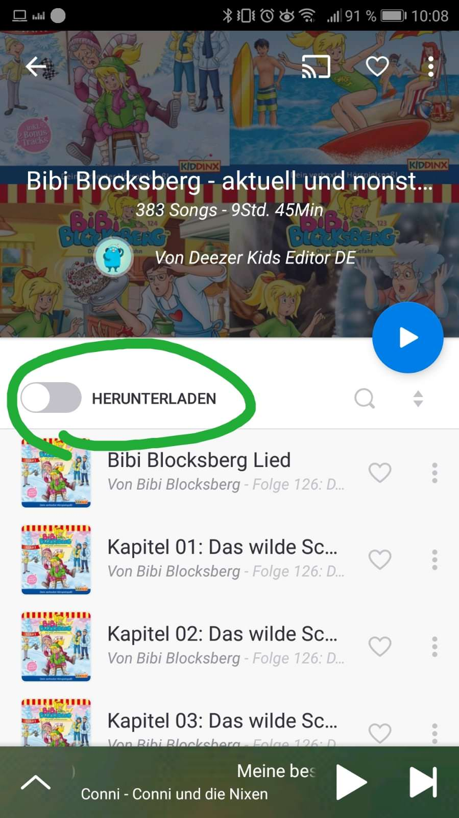 Deezer Family auf Reisen - Herunterladen Button in Playlist